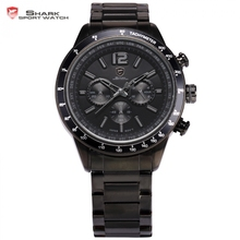 Pacific Angel Shark Sport Watch 24 Hours Chronograph Black Stainless Full Steel Strap Waterproof Military Quartz Watches /SH319(China)