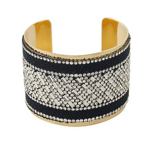 Fashion Personality Mixed Colors Acrylic Bangle Retro Pave CZ Bangles Wide Cuff Opened Big Bracelet Wristband For Women Jewelry