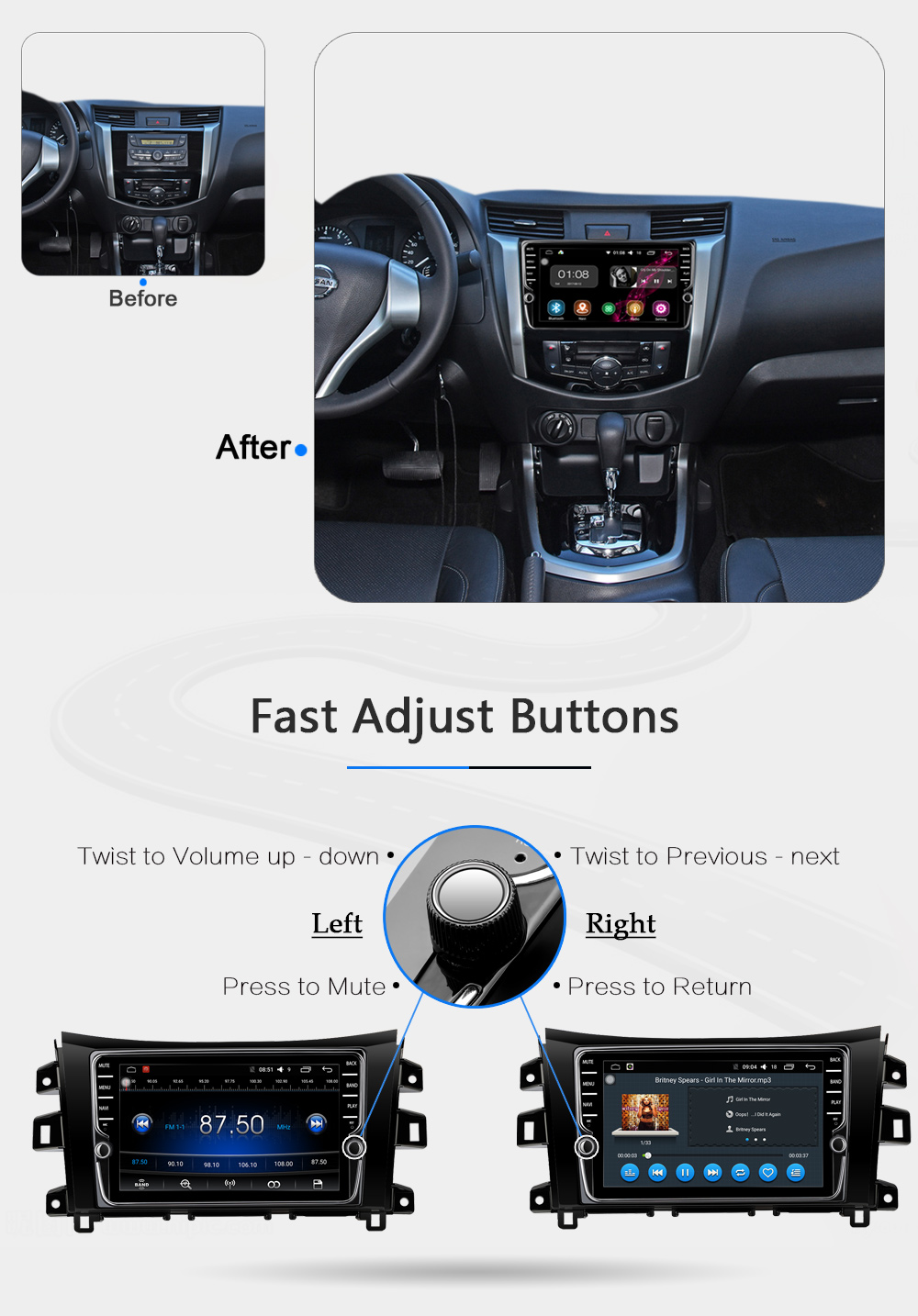 WITSON S190 Android 7.1 quad core Car Dvd Navi Player For NISSAN NAVARANP300 2G ROM External Microphone+ DAB +WIFI+OBD+DVB-T