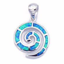 Ocean Blue Opal Swirl Pendant Necklace with Free Wave Chain(China)