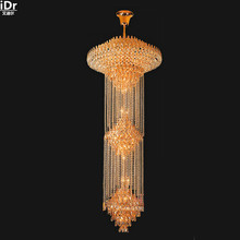 Villa hotel lobby modern minimalist fashion crystal lamp golden yellow traditional lamp gold Chandeliers Lmy-0163(China)