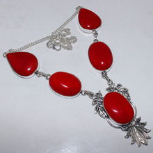 Red Coral  Necklace  Silver Overlay over Copper , 49.7 cm, N0917