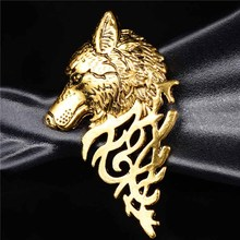 SHUANGR New Antique Wolf Head Design Mens Clothes Jewelry Brooches Men's Suits Accessories Brooch Pins