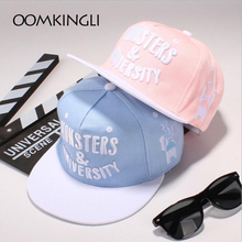 OOMKINGLI Baseball Cap Man & Women Pink blue monster college flat eaves hat shade hip hop Hat(China)