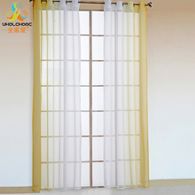 Window Treatment Curtain Color Changing Polyester Voile Hole Hook Tulle Sheer Decoration Bedroom Living Room Drape Panel 2 PCS