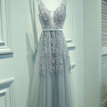 Evening-Dress Robe-De-Soiree Tulle Applique Vestido-De-Festa Grey Sexy Real-Photo High-Quality