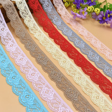 New Wholesale 10 yards beautiful Flower shape high quality elastic lace ribbon 25mm width Multi-color costume DIY decoration(China)