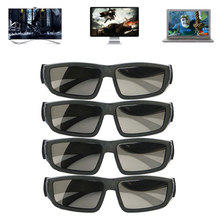 Mayitr 4pairs Passive 3D Glasses Black High Quality Polarized IMAX Glasses For 3D TV Cinema Kid Adult