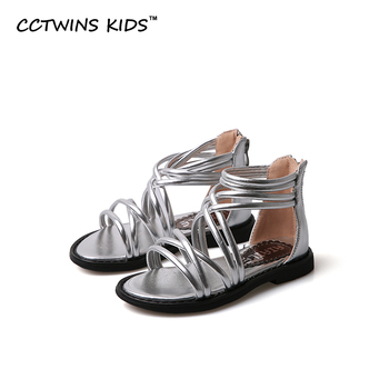 CCTWINS NIÑOS 2017 Gladiador Del Verano Del Bebé de Los Niños de Marca Zapatos Sandalia de La Manera de La Muchacha Del Cabrito de Plata Oro Princesa Tobillo Playa Plana B716