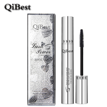 QiBest Bushy Mascara Waterproof Non-Smudge Silicone Brush Rimel 3d Colossal Curling Black Mascara Fibre Eye Makeup Silver Tube
