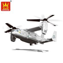 Wange Building Blocks Military F15 Fighter J-15 V-22 Osprey Tiltrotor Aircraft Helicopter Model Building Kits Toys For Children(China)