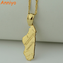 Anniyo pendant 3.2cmX1.cm / madagascar map necklace pendant for women Gold Color Jewelry Africa Malagasy Maps Fashion(China)