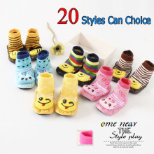 2017 Cartoon Toddler Baby Rubber Sole Socks for Kids Anti Slip Warm Cotton Shoelaces Knee Children 0-1-2-3 Years Old