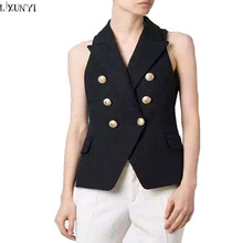 2017 Europe Summer Suit Vest Women Sleeveless jacket Double Breasted Metal Button Slim Vest Coat Waistcoat Ladies Outerwear
