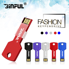 BiNFUL Colorful Metal Key shape usb flash drive 4GB 8GB 16GB pen drive 32GB 64GB pendrive U disk Thumb memory stick free ship(China)