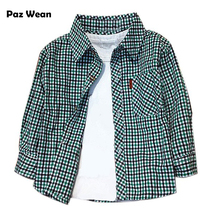 Children's shirts babies British plaid shirt Boys dress botton Checkered shirt blouses costumes for kids newborn boys to a year(China)