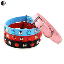 Excellent Brilliant Small dog collar Puppy Leather Collar for dogs Chihuahua harness set Pet shop dog  product supplies HP 704