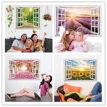 [SHIJUEHEZI] Fake Window 3D Wall Sticker Vinyl Material Multi Color Mural Art for Living Room Sofa Background Bedroom Decoration(China)