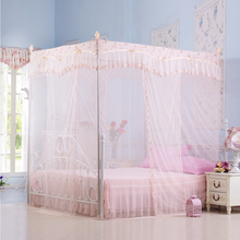 2017 Summer palace mosquito net quadrate three-doors lace polyester nets curtain stainless steel landing bracket moustiquaire(China)