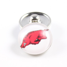 Arkansas Razorbacks 18mm Snap Button Fit Ginger Snap Bracelet Bangles NCAA Football Baseball Series Jewelry 10PCS
