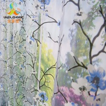 Window Curtain Blue Plum Flower Printed Pattern For Home Living Room Screening Transparent Sheer Voile Fabric 1PCS/Lot(China)