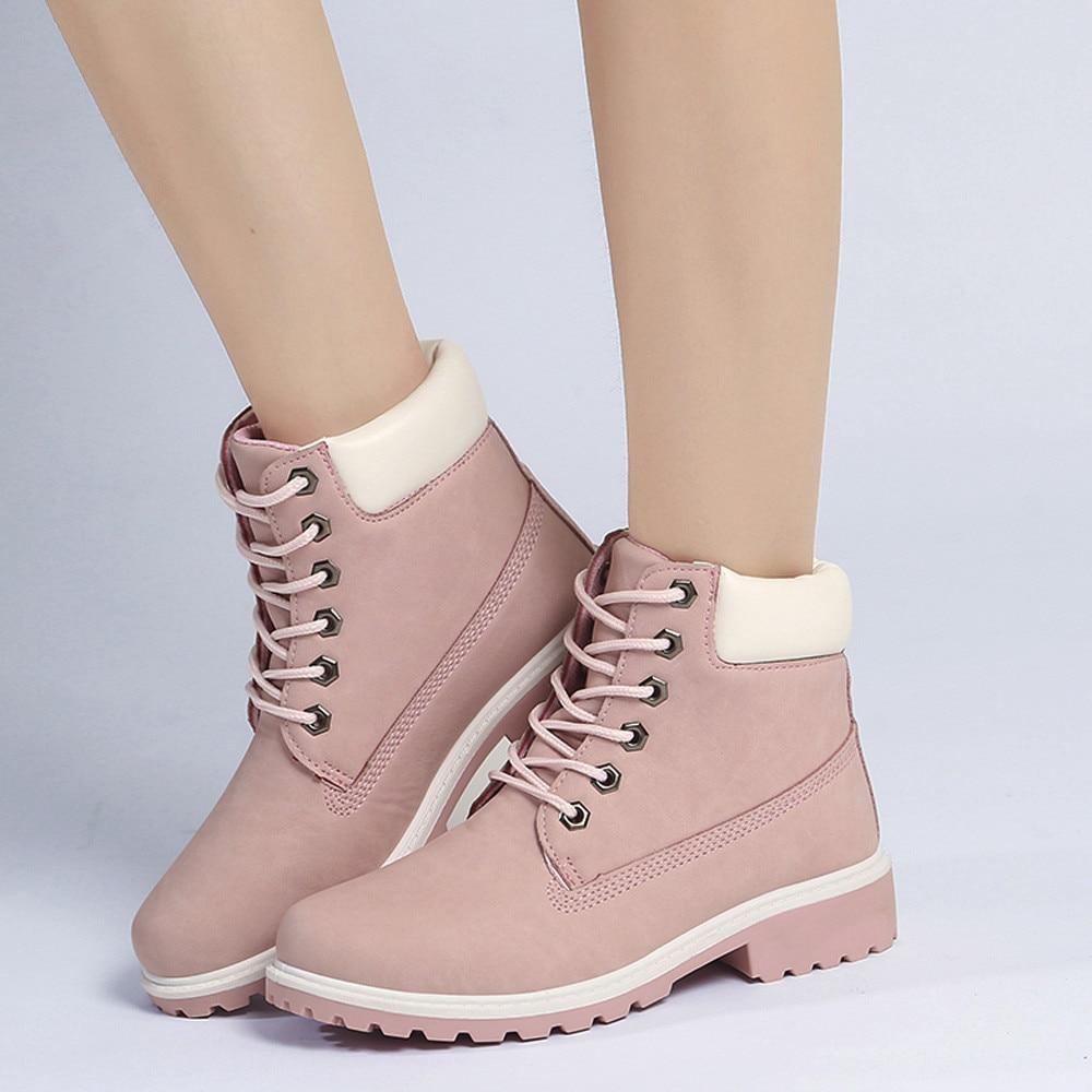 Szyadeou Women Ladies Round Toe Lace-up Faux Boots Ankle Casual Martin Shoes botas mujer invierno kozaki damskie schoenen 30 21