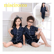 Fashion Kids pajamas Summer short long suit pajamas pyjama baby girl pajamas 2017 raglan sets Ice silk Protect skin pleasantly c(China)