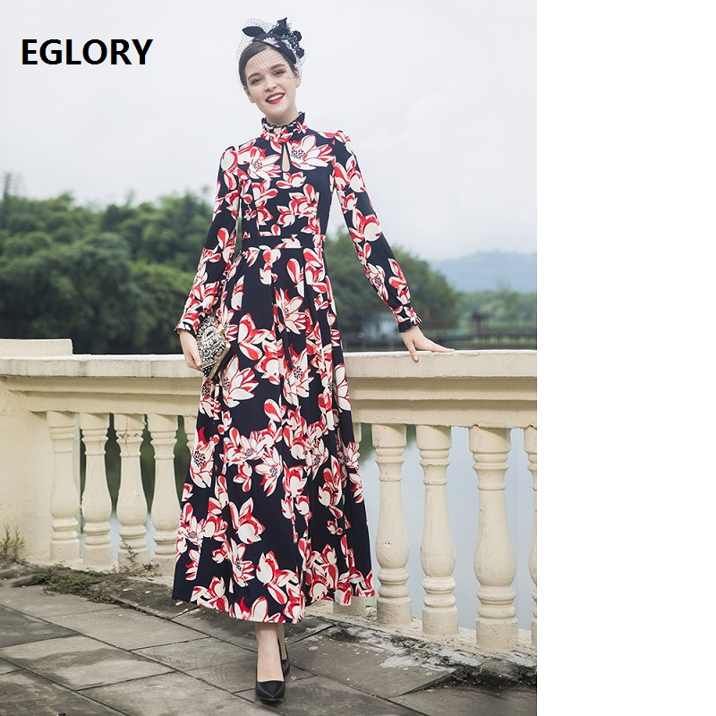 Top Quality Brand Long Dress 2018 Autumn Winter Party Special Occasion Vestido Women Ruffled Collar Floral Print Long Maxi Dress