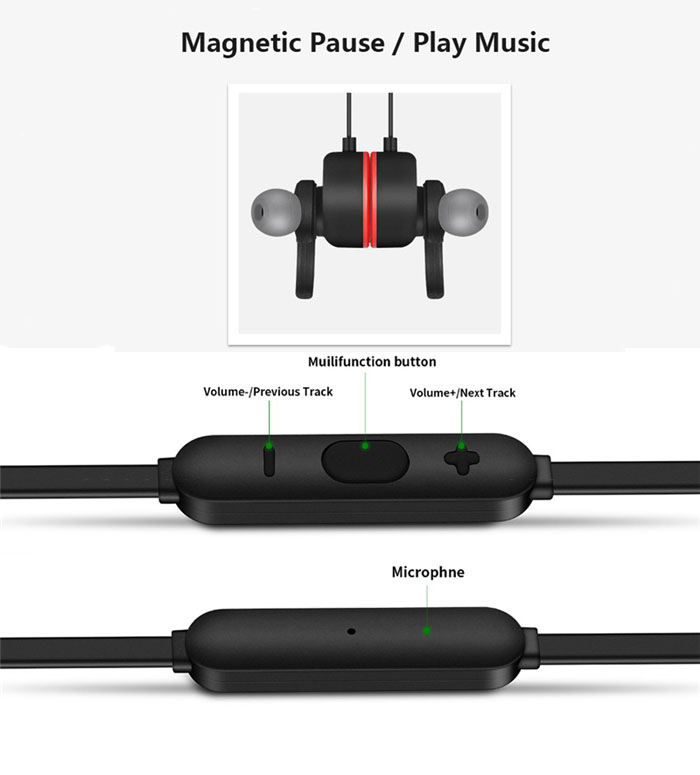 Bluetooth Earphone Music Sports Earphone Magnetic Control Switch Hands-Free With Mic for Meizu Pro 6 Pro6 Plus 6s Pro6s