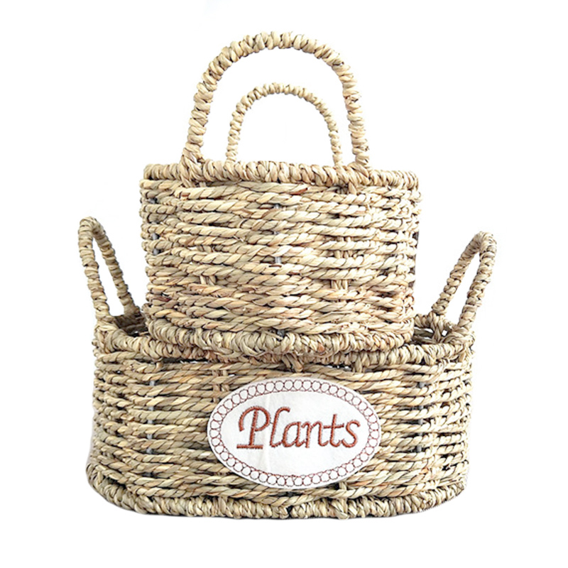 2Pcs/Set Woven Straw Storage Basket Handmade Rattan Flower Plant Pot Dirty Laundry Toy Cosmetic Home Organizer Wedding Decor(China)
