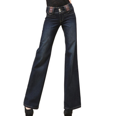 Spring autumn high waist wide leg women casual pants cotton jeans full length female trousers embroideryÎäåæäà è àêñåññóàðû<br><br>