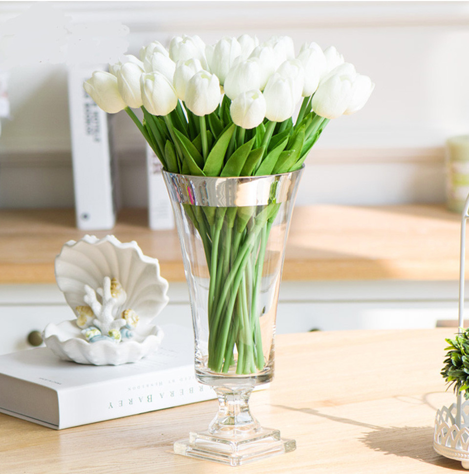 1pc PU Tulip Artificial Flowers Mini Tulip Flower Real Touch Wedding 10 Colors Fake Flowers Tulips For Home Decoration_06