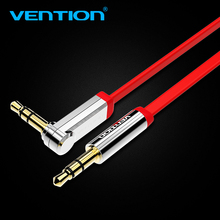 Vention 3.5mm audio cable 90 degree right angle flat jack 3.5 mm aux cable for iPhone car headphone beats speaker aux cord MP3/4(China)