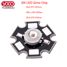 10pcs 3W 45mil led grow Chip Deep Red 655-660nm 620-630nm Royal Blue 440-460nm LED diodes plant grow Light Lamp With 20mm(China)