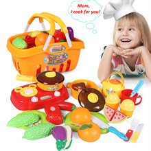 meibeile Kids Plastic Cooking Cut Fruits Vegetables Food Kitchen Toys Set Christmas Gifts for Children Girls 21PCS with Basket