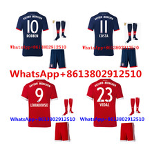 2017 HOT SALES 2018 BEST QUALITY ADULT BAYERNES MUNICHES SOCCER JERSEY KIT + SOCKS 17 18 HOME RED AWAY GRAY CHILD SHIRT(China)