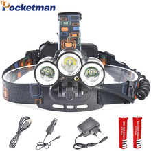 8000 Lumen Headlight Headlamp Zoom Flashlight Torch CREE XM-T6 LED Head Lights Lamp 4Modes with Batteries + USB Wall Car Charger