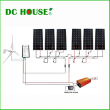 1.3KW kit 400W Wind Turbine Generator 6pcs 160W Mono Solar Panel 1500W Inverter(China)