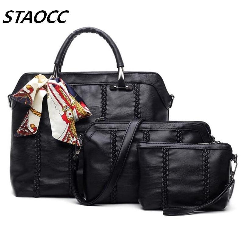 Women Leather Handbags Composite Bag Tote Bag Ribbons Decoration Ladies Purses High Quality Woman Handbag Bolsas Feminina 2017 <br><br>Aliexpress