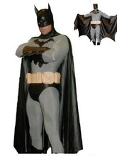 Classic Batman Costume Spandex Zentai FullBody Superhero Batman Male Mens Adults costume with cape and mask free shipping