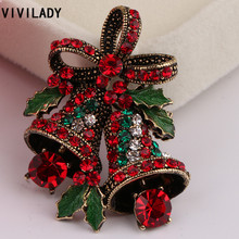 VIVILADY Trendy Wholesale Christmas Enamel Bell Flower Leaf Crystal Rhinestone Brooch Pins Girl Women Broche Costume Bijoux Gift(China)