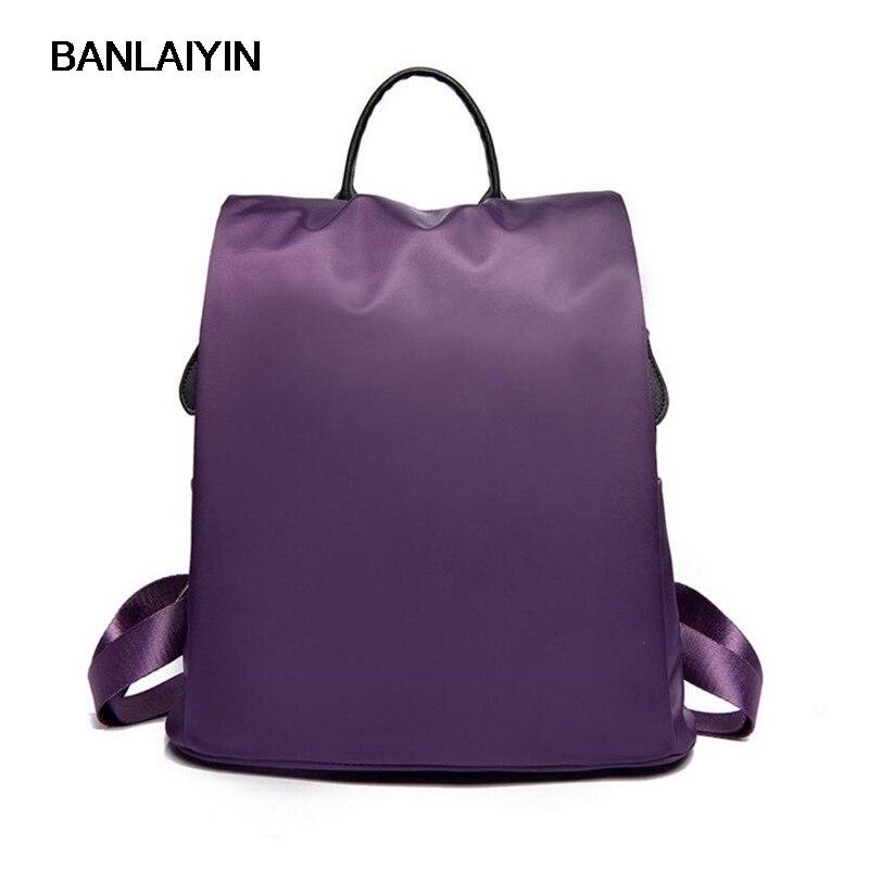 Women Backpack For School Teenagers Girls Waterproof Nylon Shoulder Bag Ladies Backpacks Female Purple Travel Back Pack<br>