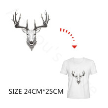 Deer Head DIY Stickers For Kids Men Clothes Heat Transfer Pyrography Paper Iron-On T Shirt Sweater Washable Patch For Christmas(China)