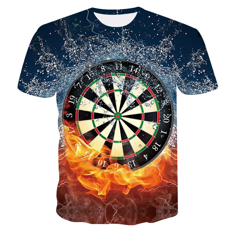 2019 new dart board men's casual t-shirt Summer 3D dart board printing fashion men and women T-shirt Cool casual sportswear(China)