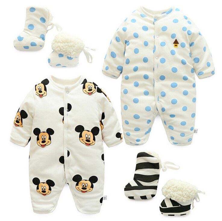 2017 new winter autumn Thickened Jumpsuit  + Shoes cartoon Style Hooded Baby Rompers Boys Girls Clothes Outfits Newborn Clothing<br><br>Aliexpress