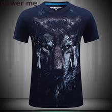 High quality new fashion cotton 3d t shirt men 2017 summer new arrvial 3D funny Print wolf man's T-shirt  plus size 5xl