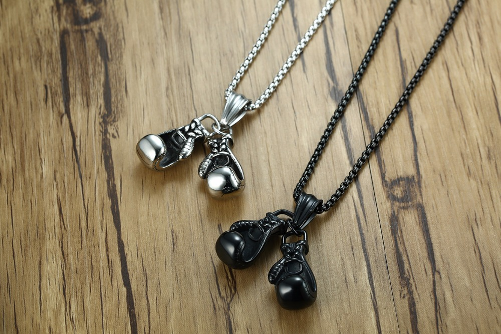 Meaeguet Stainless Steel Chain Pair Boxing Glove Pendant Charm Fitness Rock Punk Jewelry Collar de Cadena Cool Necklace (5)