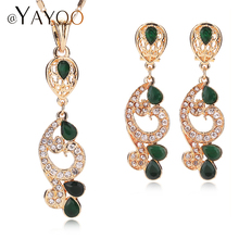 AYAYOO New Luxury Imitated Crystal Dubai Bridal Jewelry Set For Brides Necklace Earring Wedding Party Accessories Women Unique