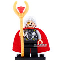SingleSale Odin God with Staff Thor Marvel Super Heroes The Avengers minifig Assemble Model Building Blocks Kids Toys Gift(China)