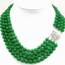 Fashion chalcedony jades 4 rows natural 8mm green round beads necklace for women semi-precious stone jewelry 17-20inch  MY5177